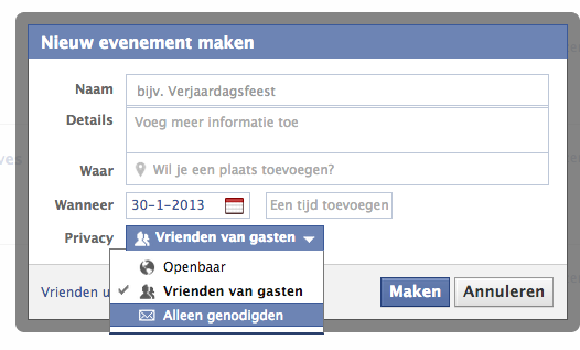 screenshot facebook event aanmaken
