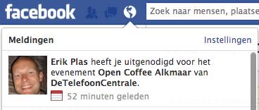 Notificatie van facebook event