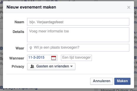 Evenement aanmaken facebook meerdere dagen 1