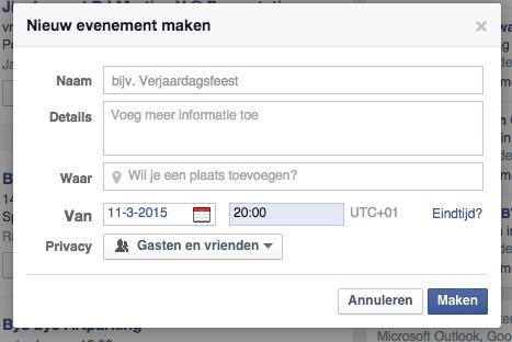 Evenement aanmaken facebook meerdere dagen 2