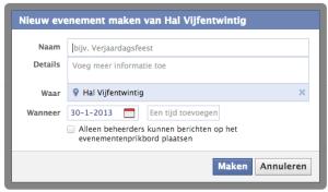 screenshot facebook event aanmaken bedrijfspagina