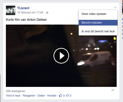 Embed facebook video wordpress stap 1