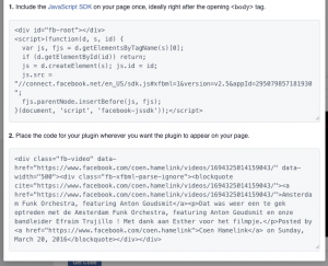 Facebook video embed code en javascript